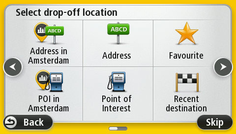 On the Select drop-off location screen, tap Address in city. If the location is not in your current city tap Address. You must then first enter the city you want to navigate to.