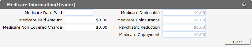 3.1.3 Medicare Information (Header) Panel Through the Medicare Information panels (Header and Detail), users can report Medicare (or Medicare Advantage Plan) payment and adjustment information, which