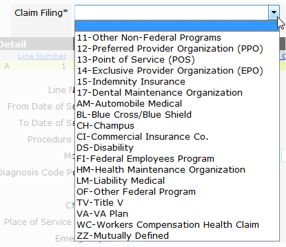 Figure 25 Claim Filing Drop-down Menu The claim filing indicates the type of OI billed prior to Medicaid claims submission. 6. Enter the Payment Date. 7. Enter the Payment Amount.