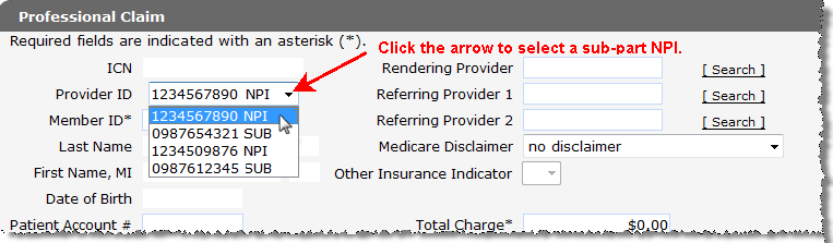 3.1 Professional Claim Panel Users may enter a claim s header information on the Professional Claim panel. Note: Fields marked with an asterisk (*) are required fields.