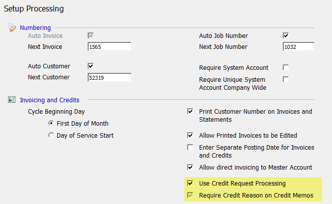Credit Requests Activation Prior to using the Credit Requests functionality the Credit Request Processing Option must be activated in SedonaSetup.