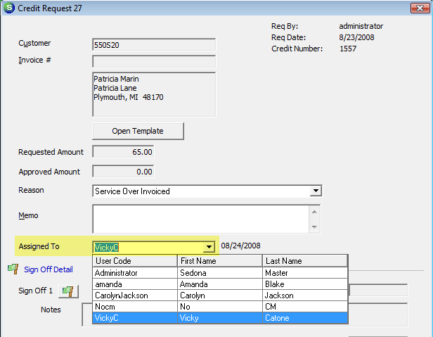 Reassigning a Credit Request A User Group security option is available with the AR security group which will allow a User linked to that group to reassign a Credit Request to another User.
