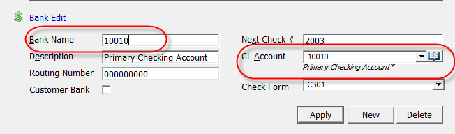 Journal Entry created by Depositing a Payment Batch into a Bank Account The G/L account number