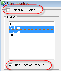 Branch If your company is operating under multiple branches the User has the option of selecting one, multiple or all branches in the list.