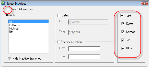 Type This option allows the selection one or multiple types of invoice to be printed.