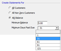 Statements - Last Statement Date: Figure 252 Create Statements For The information defaulting into these fields is maintained in SedonaSetup / Statement Rules.