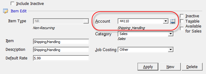 When Invoicing with Invoice Items, the G/L Account used for the revenue side of the transaction posting to the general ledger is located in the Invoice Item setup.