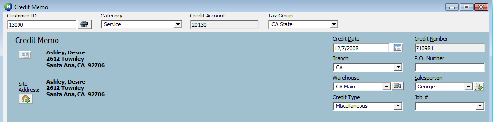 Credit Date The credit date will default to the date you are creating the Credit Memo, however the User may this change to any date that is in an open accounting period.