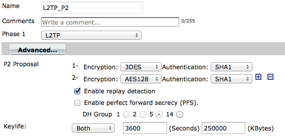 Configuring the L2TP/IPsec phases On the FortiGate, go to VPN > IPsec > Auto Key (IKE). Select Create Phase 1.
