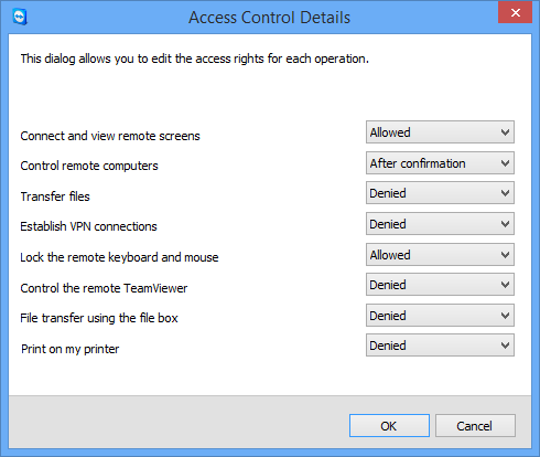 Miscellaneous functions The Access Control Details dialog box shows the specific effects of the selected mode. You can also open this dialog box using the TeamViewer options.