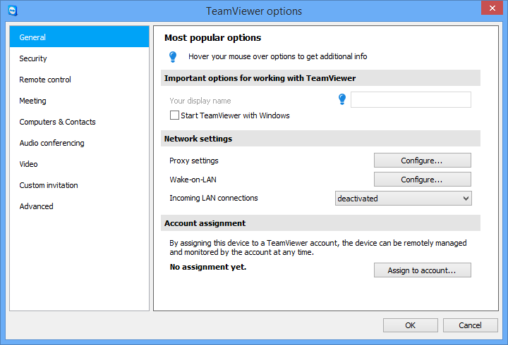 Options 13 Options To access options, click Extras Options in the TeamViewer main window. The TeamViewer options dialog box will open. On the left, you will see the categories described below. 13.1 Category General The General category includes some of the most common settings.
