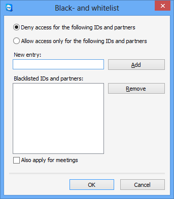 Options Rules for connections to this computer Windows logon Black and whitelist From this drop-down list, you can select whether to allow remote TeamViewer users to connect to your computer with