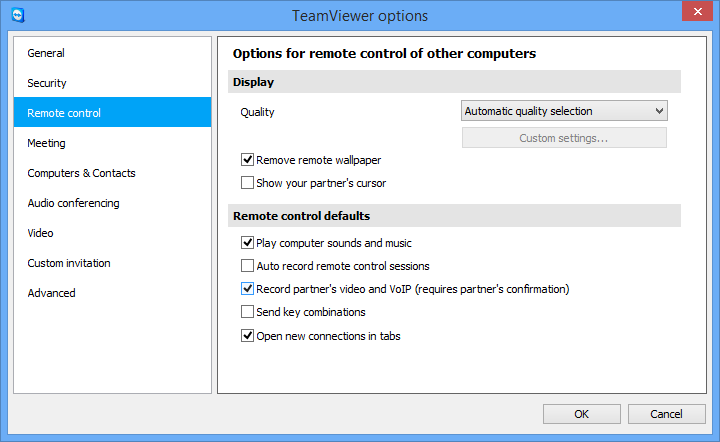 Options 13.3 Category Remote control In the Remote control category, you can preconfigure settings for remote control sessions.