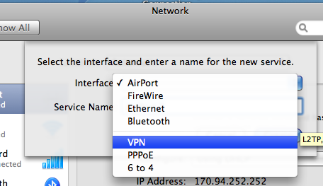 In the Network window: Click to highlight either the Ethernet or AirPort connection. Click the + in the lower left corner.
