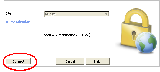 Changing the Site Authentication Scheme If you select SAA as the authentication in the site wizard, a new page opens where you select the type of SAA authentication and a DLL file, if required.
