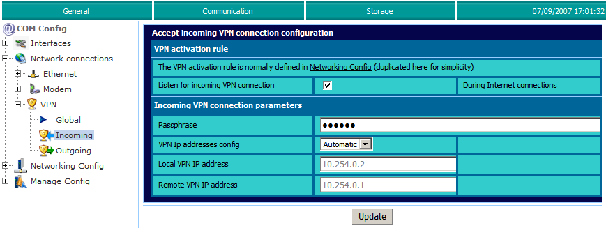 ewon configuration for VPN connection Chapter 3.