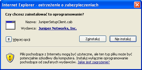 """JuniperSetupClient.cab"" (Figure 2 - Message about the need to install an additional file)."