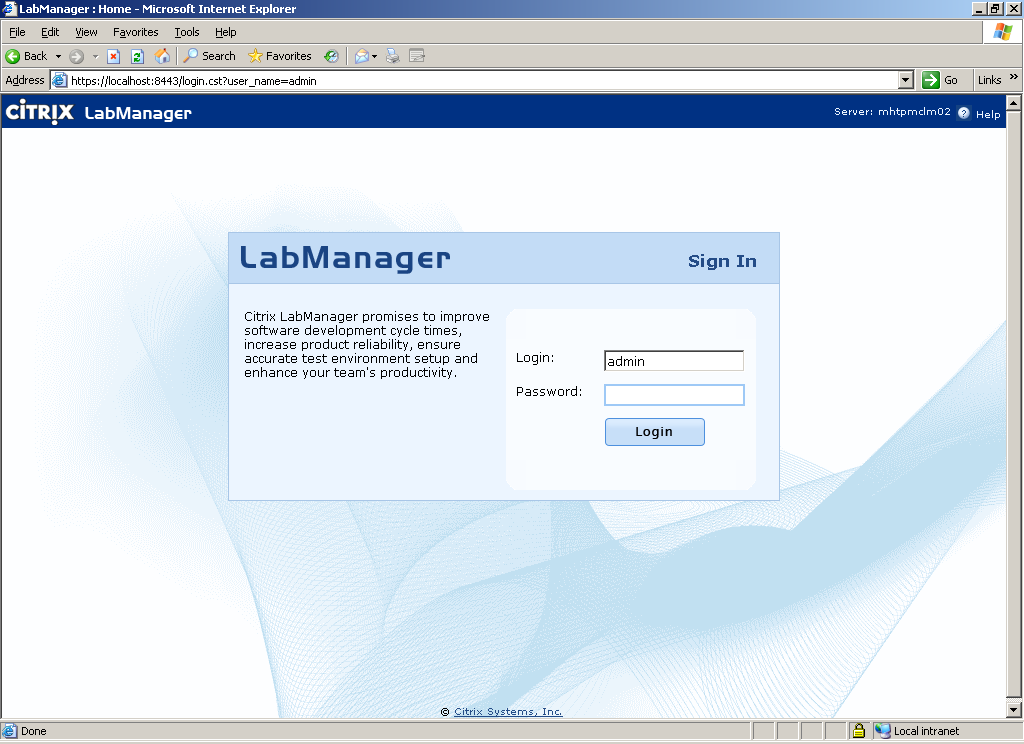 Configuring the Lab Manager Server The Lab Manager server is the centralized management and configuration console for the lab. It is accessible via a web console over SSL at https://servername:8443.