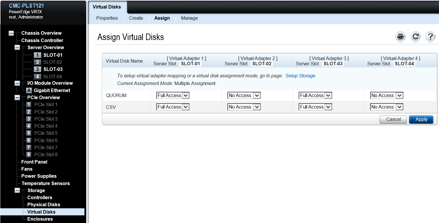 Assigning virtual disks 1. Select Virtual Disks under Storage. 2. Select Assign from the top menu. 3.