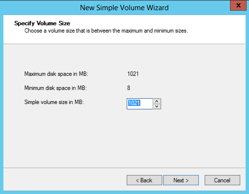 14. Click Next to start the New Simple Volume Wizard. 15.