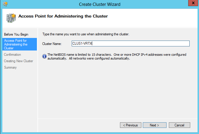 Creating clusters 1. Click Next to start the Create Cluster Wizard. 2.