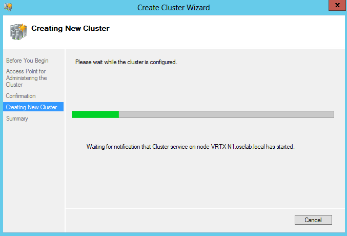 4. Click Next. 5. You will see the progress bar while the cluster is created.