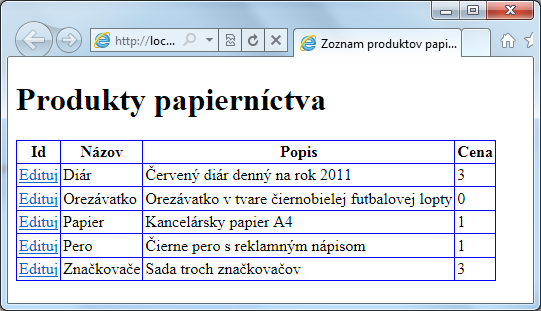 "@{ var db = Database.Open(""Produkty""); var ssql = ""SELECT * FROM Zoznam ORDER BY Nazov""; <!"