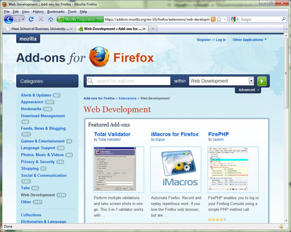 C. Firefox with Web Developer or Firebug add-on If you want to learn more about an existing web page, the Firefox browser has many free add-on tools that can help.