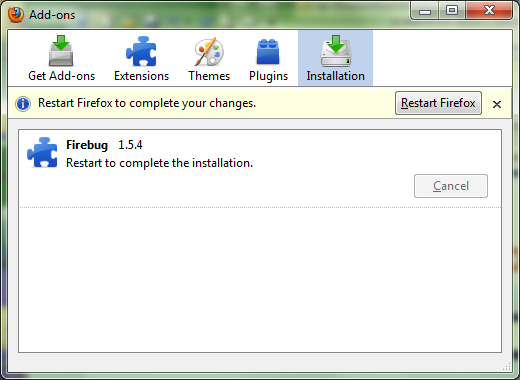After the product is installed, if you see the Add-on dialog box with a note to restart Firefox, click