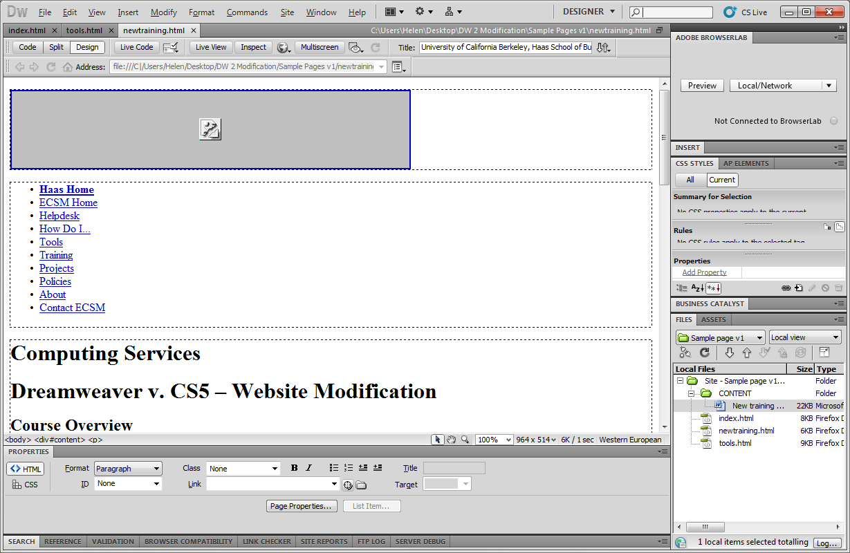 5. Paste the new text from Microsoft Word over the selected old text in Dreamweaver. 6.