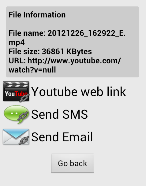 5 When the upload is complete, you can identify the video on YouTube or share the URL by using SMS and Emails.