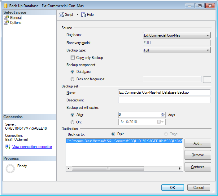 Chapter 4 Back Up and Restore Procedures Figure 4: Database List in the Object Explorer Pane 3 Right-click on the database and