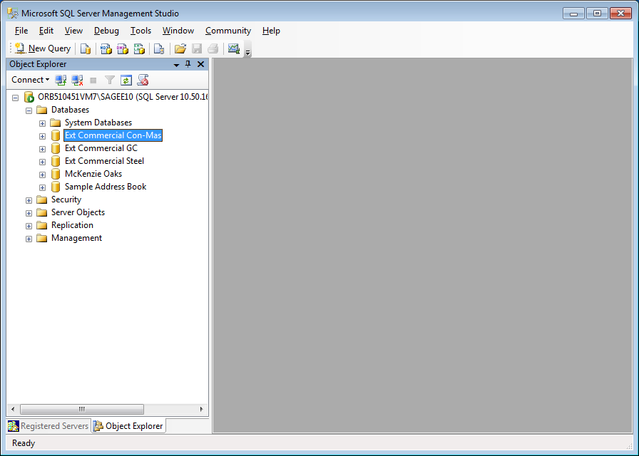 Chapter 4 Back Up and Restore Procedures Figure 6: Database List in the Object Viewer Pane 3 Right-click on the