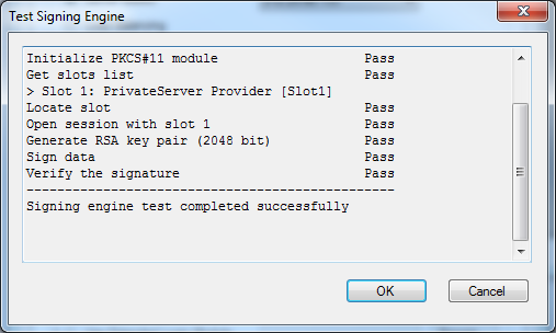 4. Click Test button to check your configuration setting.