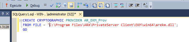 Using Microsoft SQL EKM Provider To install and configure the EKM provider on your Microsoft SQL Server, run the SQL Management Studio and enter the different queries.