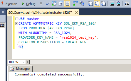Generating Symmetric and Asymmetric Keys Run query to generate a symmetric key inside PrivateServer, to be used by the EKM provider.