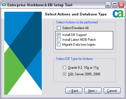 Installing Support for SQL Server 2008 Using the Enterprise Workbench DB Setup Tool 5. Enter the name of the SQL Server 2008.