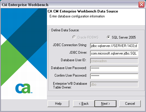 Performing a New Installation with SQL Server 2008 Enter the DB user password you have noted earlier in the Database User Password field on the CA CM Enterprise Workbench Data Source screen.