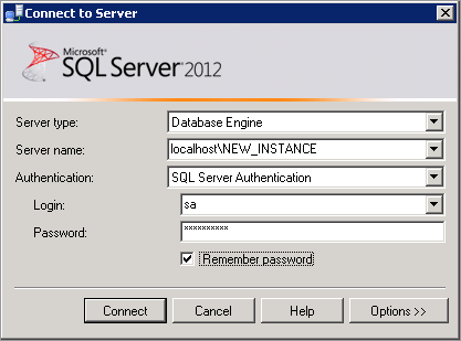 4 Accessing the new SQL Server Instance To access a newly created SQL server instance: 1. Open SQL Server Management Studio from the Windows Start menu. 2.