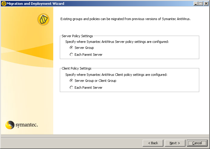 Migrating Symantec AntiVirus and Symantec Client Security About migrating groups and settings 137 Figure 7-1 Before and after settings inherited from server groups Symantec System Center before