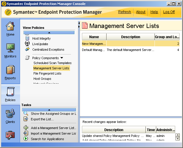 84 Installing Symantec Endpoint Protection Manager Installing and configuring Symantec Endpoint Protection Manager for failover or load balancing To configure failover and load balancing 1 In the