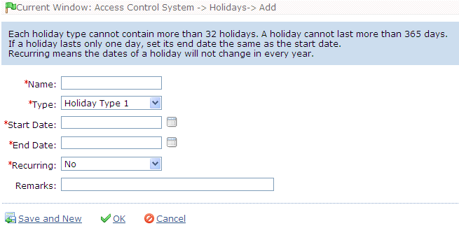Three holiday types are supported, each including up to 32 holidays. To conduct special access level configuration on special dates, the user can select special holidays for setting.