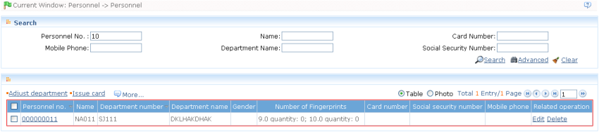 Enter the query condition, click Query, and the query result will be shown: Advanced Query: Click [Advanced] icon to show advanced query interface (using personnel information advanced query as an