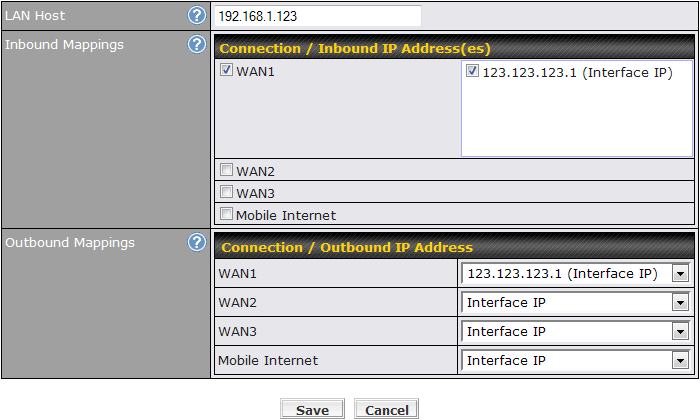 One-to-One NAT Mapping Allow the IP address