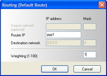 1.5 Routing and weighting You have to set default routes for both DSL connections. Do not set the default route automatically at the attaching of the DSL provider.