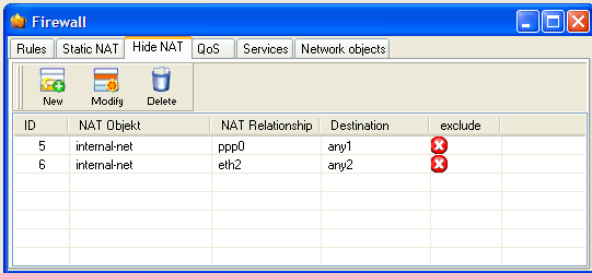 2.2 Hide-NAT This configuration also needs two network objects for the internet. One for each connection. To attach these take a look to chapter 1.3. You have to adjust the Hide-NAT settings.