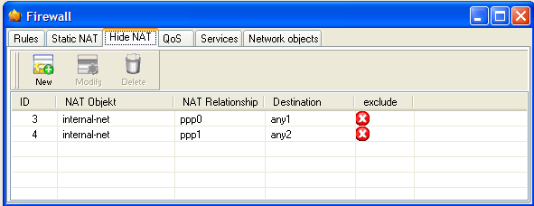 1.4 Attaching Hide-NAT To using the Network Address Translation for both DSL connections you have to setup following settings.