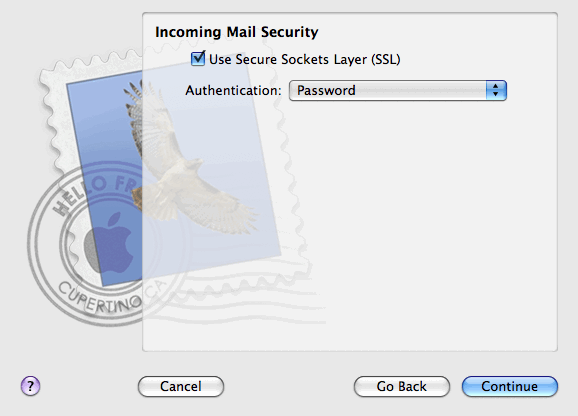 40 Accessing Your Mail from a Web Browser 6. Click Continue. 7. (Optional) Specify the incoming mail security options: a. Select the Use Secure Sockets Layer (SSL) check bo