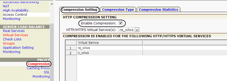 2. Select the virtual service re_wlws to edit.