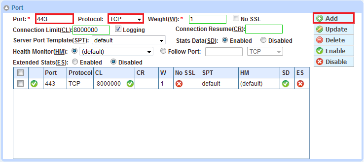 Figure 9: Server port configuration 5. Click OK, and then click Save to save the configuration. 10 SERVICE GROUP CONFIGURATION Follow the procedure below to configure a service group. 1. Navigate to Config Mode > Service > SLB > Service Group.